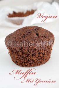 Veganen Schokoladen-Muffins mit Gemüse
